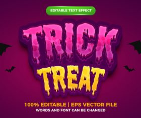 Trick or treat editable text effect template style vector