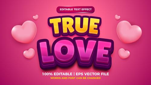 True love cartoon style 3d template vector