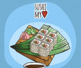 Two-color sesame sushi roll vector