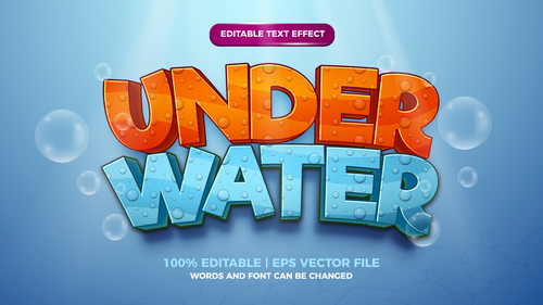 Under water cartoon cute style 3d template vector