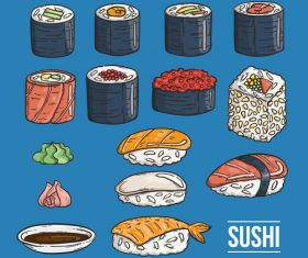 Various types of sushi vector