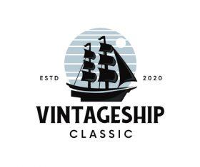 Vintage Ship classic logo vector