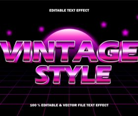 Vintage style editable text effects vector