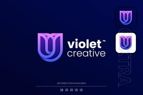 Violet line art gradient logo vector