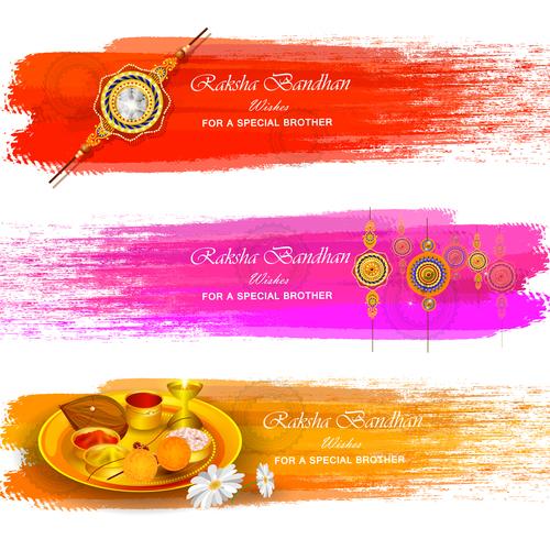 Watercolor Raksha bandhan banner vector