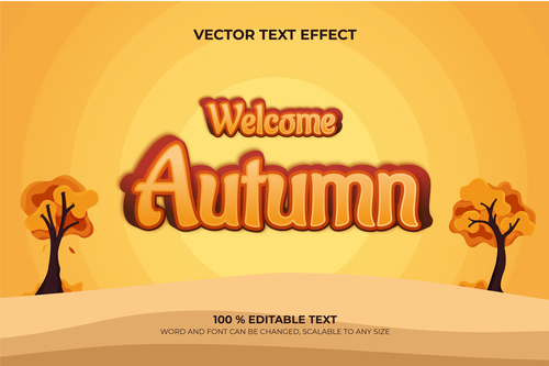 Welcome autumn vector text effect