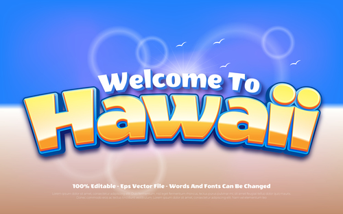 Welcome to hawaii editable style effect template vector