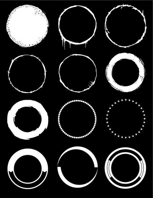 White and black circle element vector
