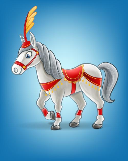 White horse cartoon vector