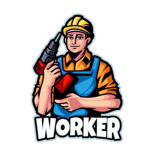 Worker logo design template vector