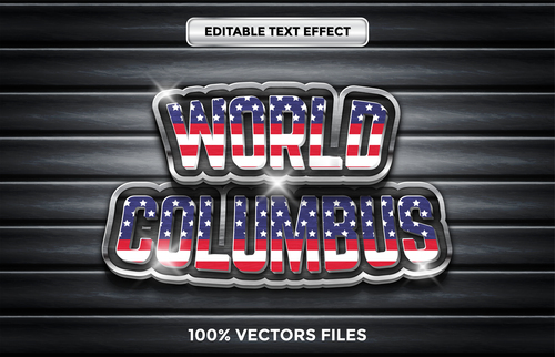 World columbus sale text effect vector