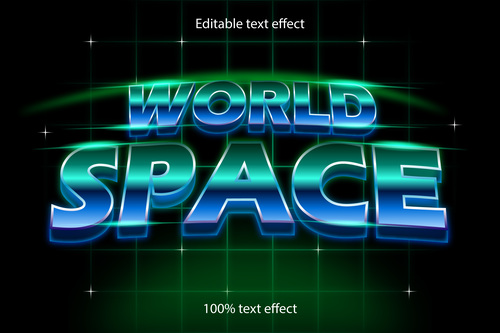 World space editable text effect retro style vector