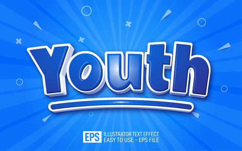 YOUTH editable style effect template vector