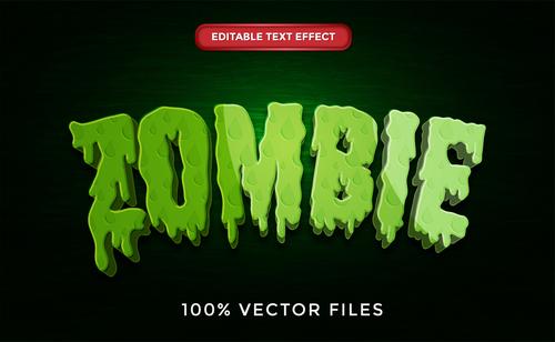 Zombie text effect vector