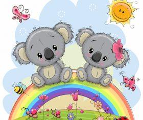 2 little bears sitting on the rainbow cartoon illustration vector