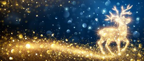 Abstract golden elk christmas card vector