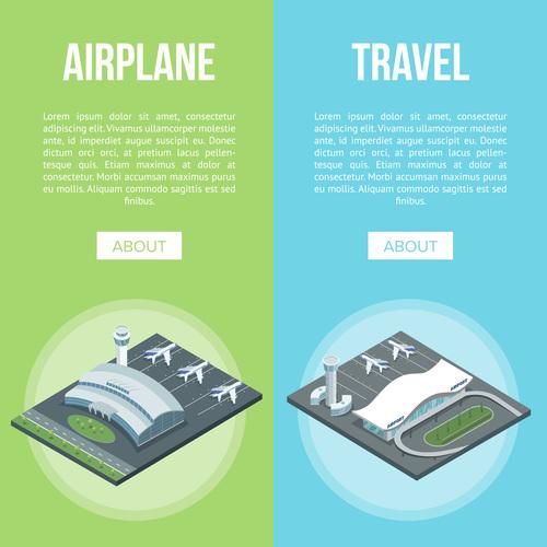 Airplane travel isometric vector