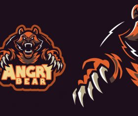 Angry bear sports logo vector
