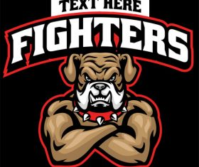 Angry muscle bulldog fighter sport logo vector