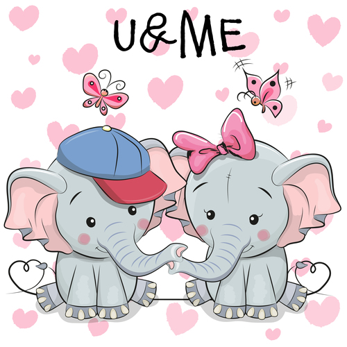 Baby elephant brother and sister vector