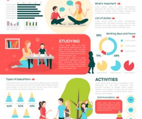 Babysitters people flat infographics banner vector