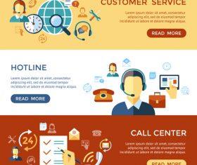 Banner call center cartoon illustration vector