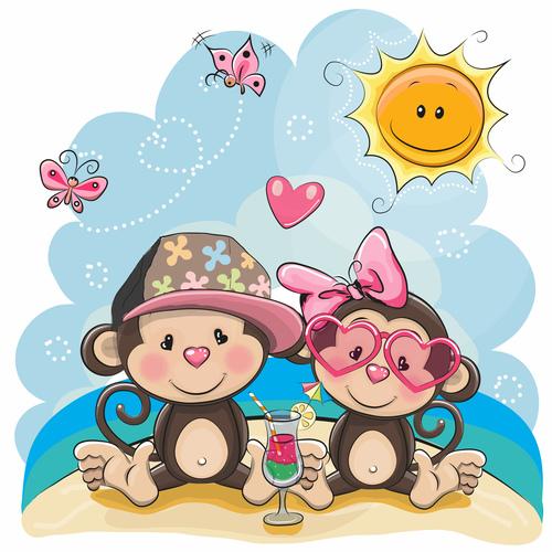 Beach monkey couple cartoon illustration vector