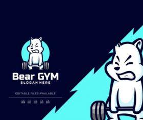 Bear gym cartoon logo vector