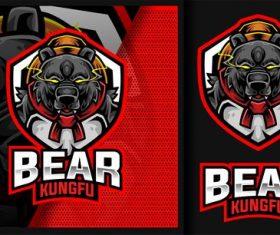 Bear kung fu master sport gaming logo vector