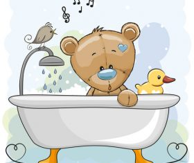 Bear taking a bath cartoon illustration vector