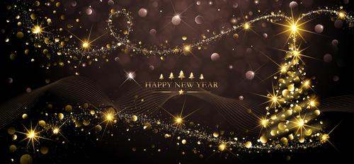 Beautiful christmas tree new year greeting card vector