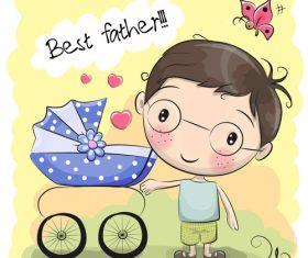 Best father cartoon illustration vector