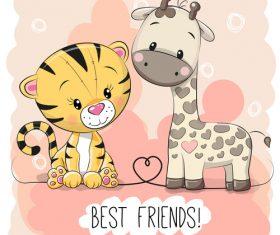 Best friends cartoon illustration vector