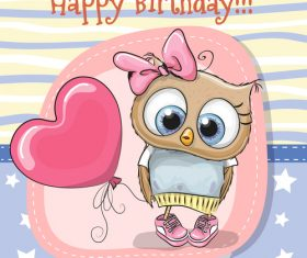 Birthday cartoon card vector
