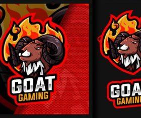 Black goat gaming mascot logo vector