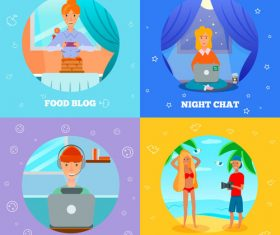 Bloggers characters icons vector
