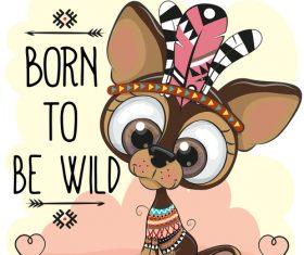 Born to be wild dachshund cartoon illustration vector