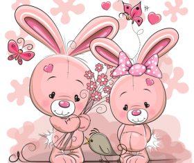 Bunny couple cartoon vector