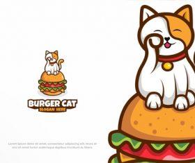 Burger cat fast food restaurant logo vector