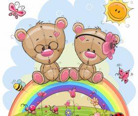 Cartoon Illustration Vector of Teddy Bear Sitting on Rainbow