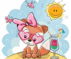 Cartoon illustration cute fox vector