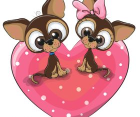 Cartoon illustration of two dachshunds sitting on a heart pattern vector