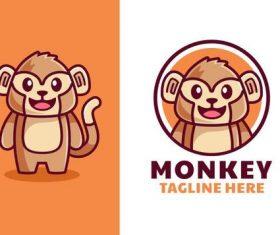 Cartoon monkey logo vector