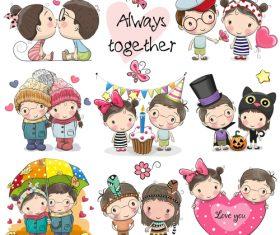 Children cartoon collection illustration vector