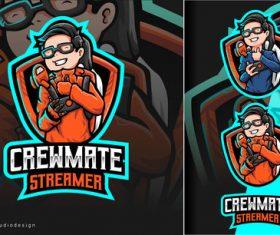 Crewmate streamer esport Logo vector