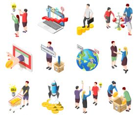 Crowdfunding start up investment icons vector
