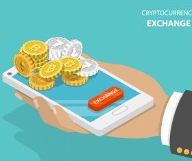 Cryptocurrency exchange business vector