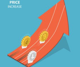 Cryptocurrency price increase cartoon illustration vector