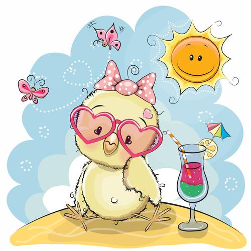 Cute chick cartoon illustration vector