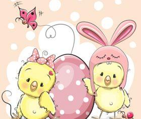 Cute chick cartoon vector